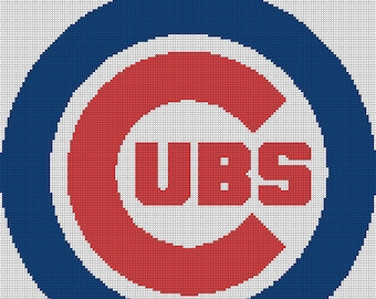 Chicago Cubs Logo -- Counted Cross Stitch Chart Patterns, 3 sizes!