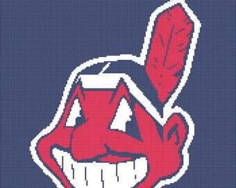 Cleveland Indians Logo -- Counted Cross Stitch Chart Patterns, 2 sizes!