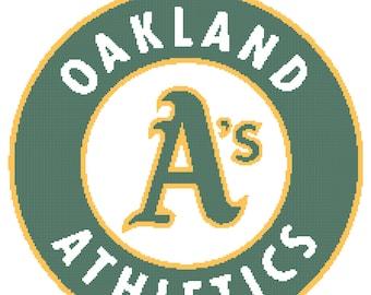 Oakland A's Logo -- Counted Cross Stitch Chart Patterns, 3 sizes!
