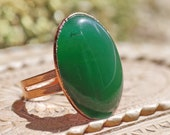 Statement ring with apple jade, Jadeite cabochon, electroformed natural stone, elegant gift for mom, Nephrite healing jewelry, boho, OOAK