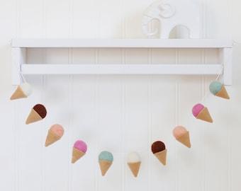 Felt ball garland - Wool ball garland - Ice cream garland - Baby decor  - Baby room decor - Pom pom garland - Nursery decor - Ice cream felt