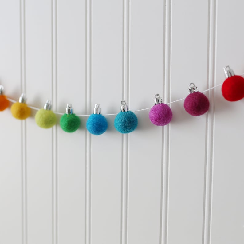 Christmas Garland Felt Christmas Garland Felt Ball Garland Holiday Garland Pom Pom Garland Bauble Garland Ornament Garland