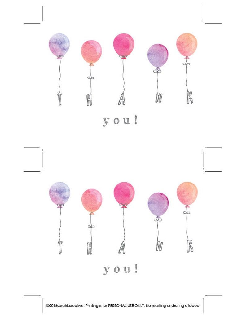 Watercolor balloon Watercolor balloons thank you card Pink balloons Bridal shower Girl birthday thank you Thank you note Baby shower