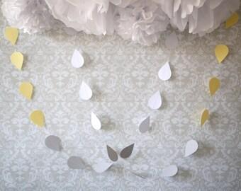 Gender neutral raindrop garland - Baby shower garland - Gender reveal garland - Twin baby shower - Baby sprinkle garland - Baby shower decor