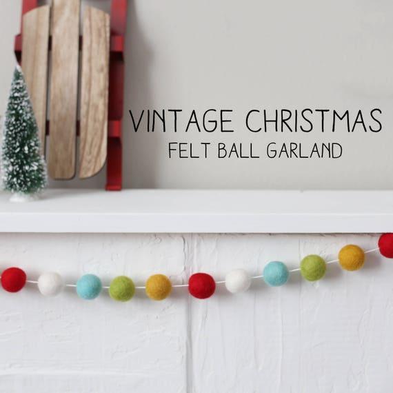 Vintage Christmas Christmas Decor Christmas Garland Felt Ball