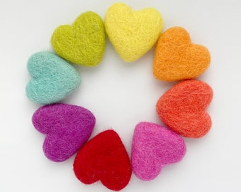Felt hearts - Loose felt hearts - Solid wool hearts - Pick your own color hearts - Heart tired tray decor - Heart vase filler - DIY garland
