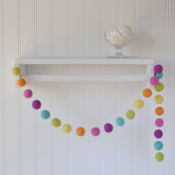 Pink Baby Girl Pom Pom Wool Felt Ball Garland Nursery Decor Baby Shower Birthday
