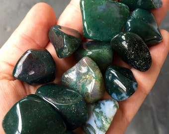 Moss Agate Stone - Tumbled Stones - Moss Agate Crystal - healing crystals and stones - moss agate stone - moss agate - grounding stones