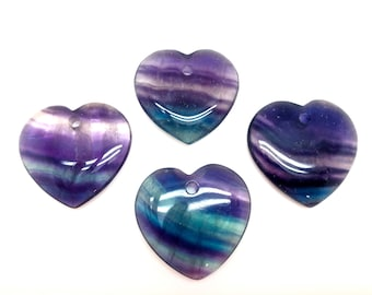 Purple or blue fluorite hammered heart pendant