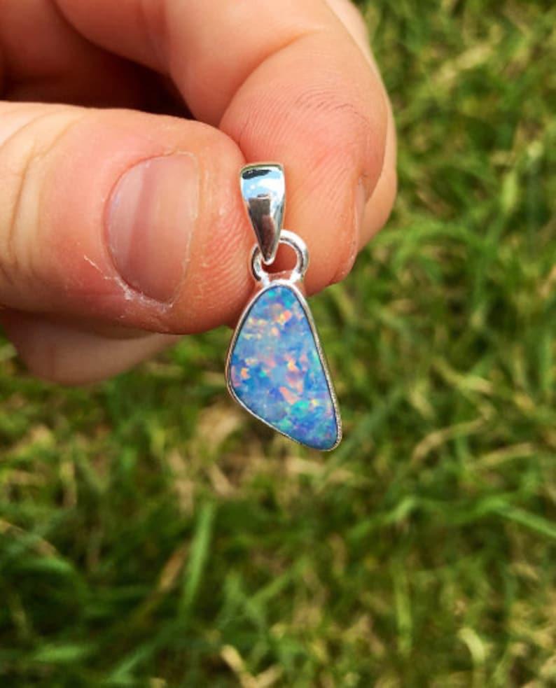 blue opal blue opal pendant Australian opal pendant australian opal necklace australian opal jewelry australian opal cabochon