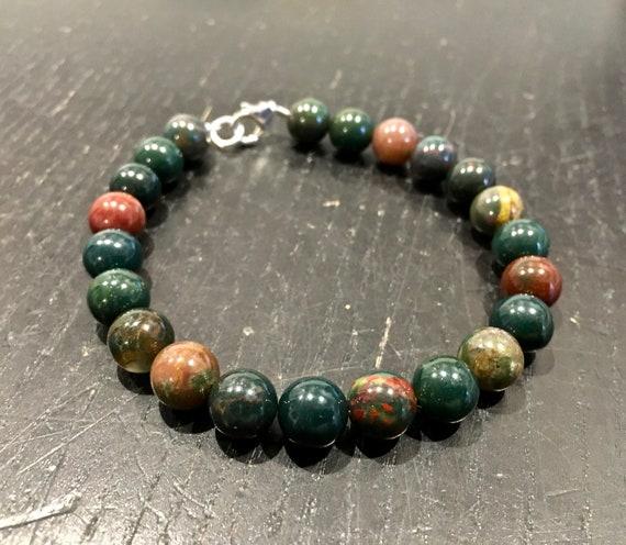Bloodstone Beads DRAGON BLOODSTONE Power Bracelet Bloodstone Jewelry Bloodstone Bracelet Healing Stone Bracelet Healing Crystal E0615