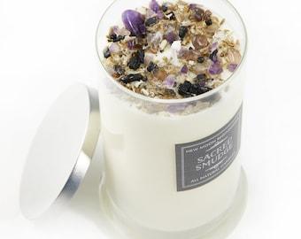 Sacred Smudge Candle - Energy Cleansing candles - Crystal & Herb Candles - Energy clearing Candles - soy candle - Lavender Sage Cedarwood