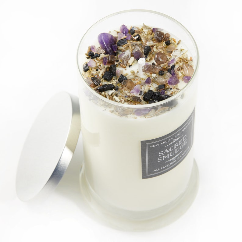 Sacred Smudge Candles  Crystal & Herb Candles  Energy image 0