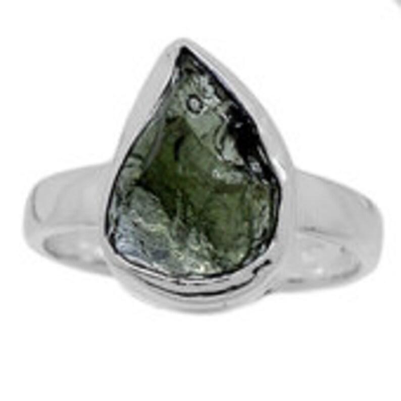 green tektite 2210 Raw Moldavite Ring Size 8 raw moldavite crystal size 8 ring raw moldavite stone healing crystals and stones