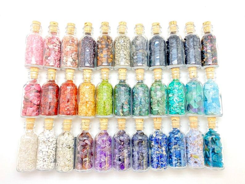 Gemstone Crystal Bottle - Stone Bottle Set - Gemstone Chips - Crystal Gemstone Bottle - gemstone crystal chips photo
