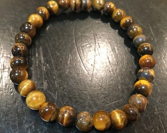 Tigers Eye - Tiger Eye Bracelet - Healing Crystal Bracelet - Tigers Eye Jewelry - Protection Bracelet - Tiger Eye elastic bracelet
