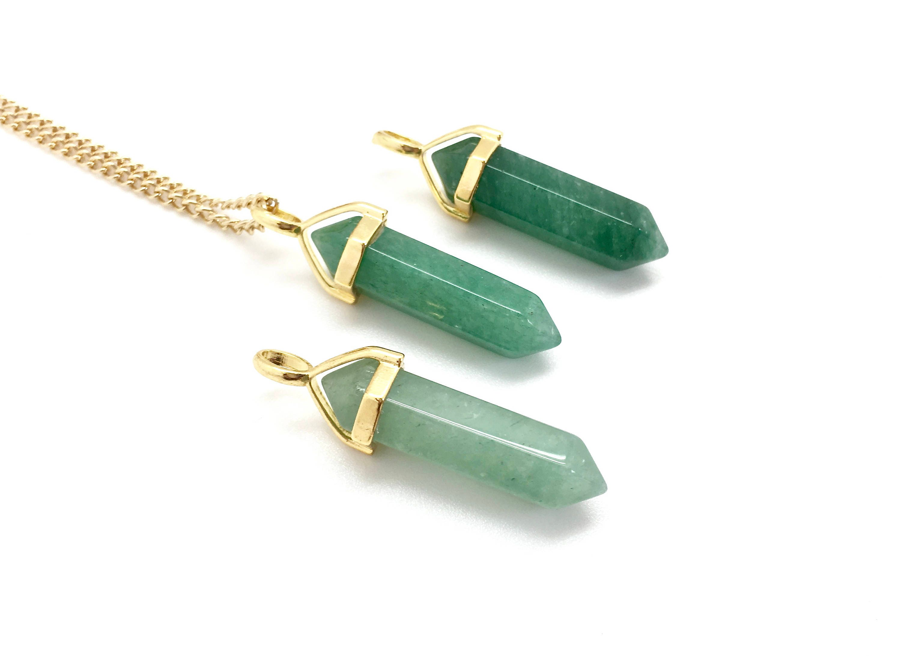 36ea47213e9bb Green Aventurine Necklace - Green Aventurine Pendant - healing crystal  necklace - healing necklace - crystal point pendant - chakra - gold