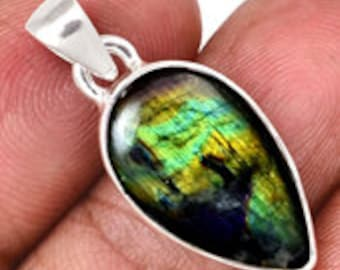 Spectrolite Pendant - Sterling Silver - Labradorite stone - Labradorite pendant - labradorite jewelry - spectralite stone pendant 149