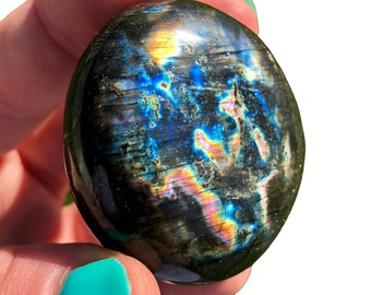 Spectrolite Stone - polished Spectrolite palm stone - Labradorite stone - Extra Quality - Labradorite slice - rough labradorite