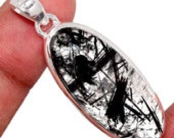 Tourmalated Quartz Pendant - healing crystal necklace - black rutilated quartz necklace - sterling silver - black tourmaline pendant 1510