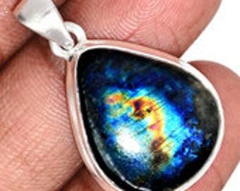 Spectrolite Pendant - Sterling Silver - Labradorite stone - Labradorite pendant - labradorite jewelry - spectralite stone pendant 120
