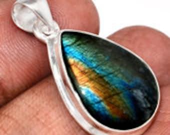 Spectrolite Pendant - Sterling Silver - Labradorite stone - Labradorite pendant - labradorite jewelry - spectralite stone pendant 125