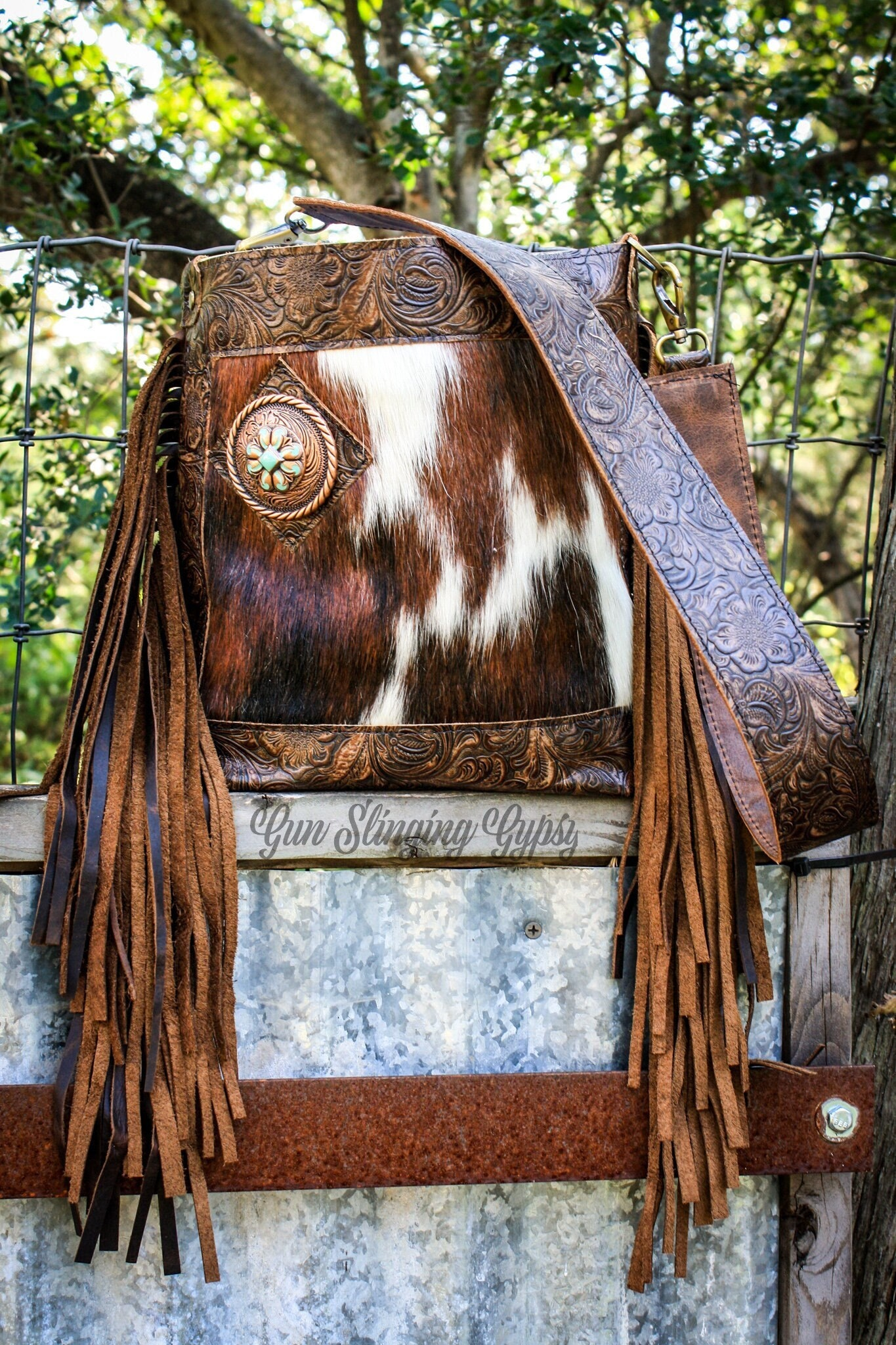 Genuine hair on hide western leather fringe shoulder bag- Bitty Bexar #345681