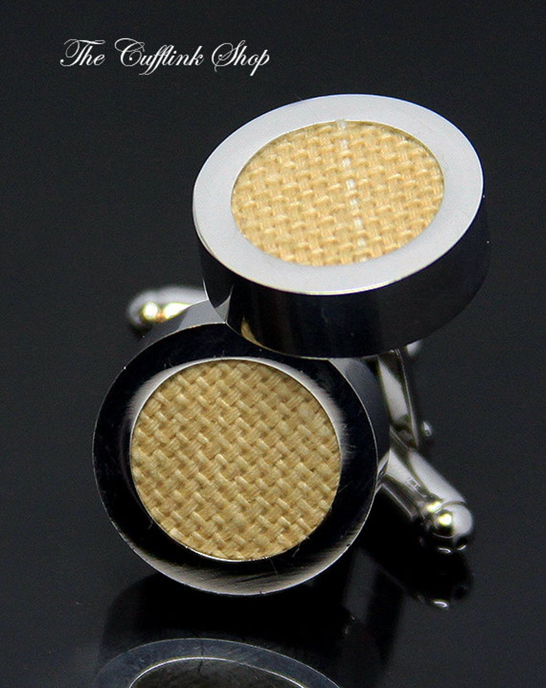8b1 Tan Natural Cotton- Perfect Birthday or Anniversary Gift Silver Cufflink Box Included - HAND WOVEN CUFFLINKS