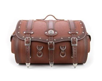 Brown Motorcycle Sissy Bar Rear Bag, Waterproof Genuine Leather Bag, Motorcycle Luggage Trunk, Harley Bag, Siberia 50K maxi