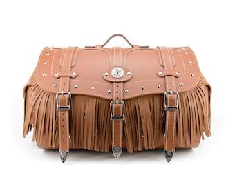 Motorcycle Sissy Bar Rear Bag Tan, Waterproof Genuine Leather Bag, Motorcycle Luggage Trunk, Harley Bag, Siberia 50K maxi