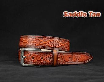Personalized Thunder bird Tooled Leather Belt Western belt, mens western belt, cowboy belt, custom leather belts, handmade leather belts