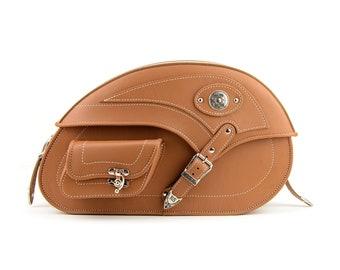 Tan Motorcycle Saddle Bags, Side bags, Genuine Leather Motorcycle Bags, Harley Bag, Yamaha Bag, Indian Bag