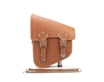 Tan Motorcycle Left Side Swingarm bag Waterproof Genuine Leather Saddlebag Motorcycle Luggage Tool Bag Pouch Side Bag