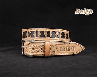 Personalized Celtic Tooled Leather Belt Viking belt, western belt, cowboy belt, custom leather belts, handmade leather belts