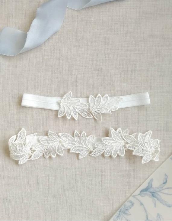 garter lace garter blue garter garter for bride Garter for wedding leaf garter wedding garter ivory lace garter