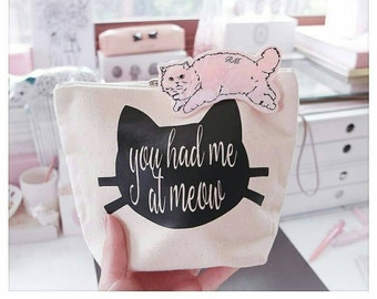 Cat Lover - Makeup Bag - Cosmetic Bag - You Had Me At Meow - Zipper Pouch - Funny Gift - Zipper Bag - Makeup Pouch -  Christmas Gift - Meow