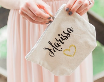 Personalized Cosmetic Bag , Bridesmaid Cosmetic Pouch , Cosmetic Bag , Bridesmaid Gift , MakeUp Bag , Glitter Gold Heart , Custom Name Pouch