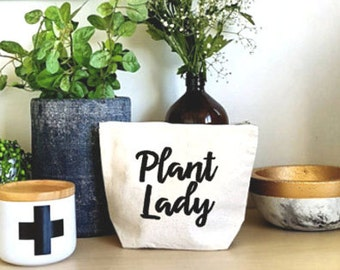Plant Lady Bag , Makeup Bag , Crazy Plant Lady , Garden Gifts , Plant Lover , Cosmetic Bag , Make-up Bag , Gift for Her , Mother's day Gift