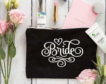 Bride Makeup Bag , Bride Gift , Personalized Wedding Gift , Bridal Shower Gift , Makeup Bag , Wedding Gift , Bridal makeup Bag, Bridal Gift