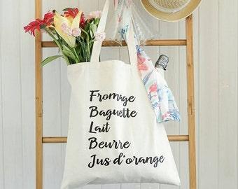 French Grocery Bag - French Bag  - Printed Tote Bag - Market Bag - Cotton Tote Bag - Farmer Market Bag Reusable Grocery Bag