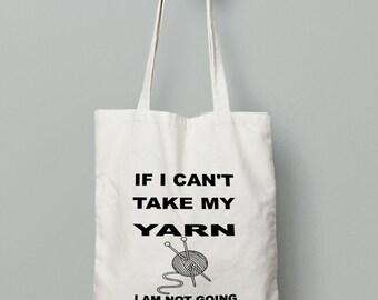 Knitting Bag - Shopping Tote Bag - Canvas Tote Bag - Printed Tote  - Cotton Bag - Large Canvas Tote - Yarn Bag - Funny Tote Bag - Tote Bag