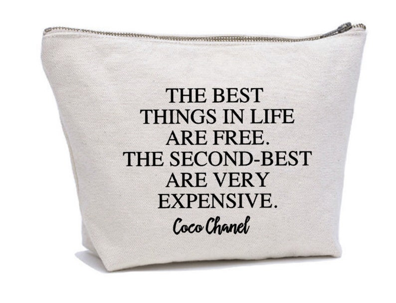 81a0fdf9e00d Coco Chanel Quote Makeup Bag Cosmetic Pouch Cosmetic Bag | Etsy