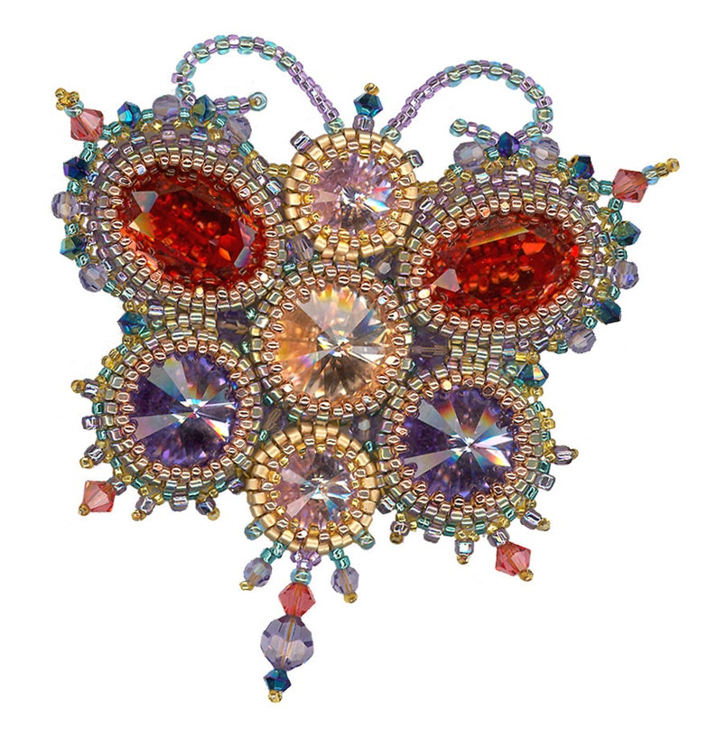 Papillon Bead Weaving Pendant or Brooch instant download PDF image 0