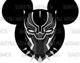 Black Panther Mickey Mouse head Digital Iron on transfer clip art INSTANT DOWNLOAD DIY for Shirt