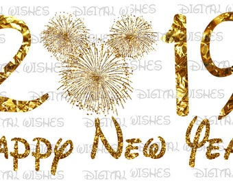 happy new year 2019 with gold firework mickey mouse head ears digital iron on transfer clip art image instant download diy for shirt