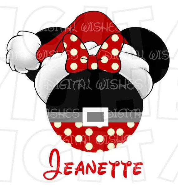 Christmas Minnie Mouse Head.Minnie Mouse Head Ears Christmas Santa Hat Polka Dot Bottom Digital Iron On Transfer Clip Art Image Instant Download Diy For Shirt