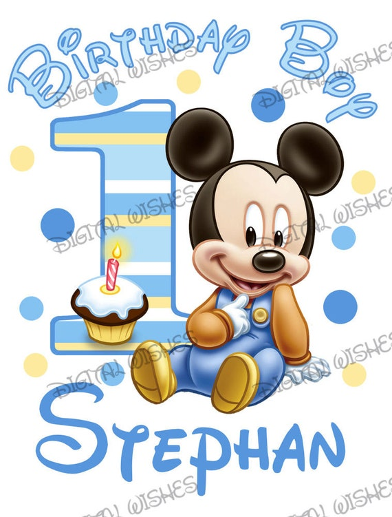Baby Mickey Mouse 1st Birthday.Baby Mickey Mouse 1st Birthday Image Personalized Name Digital Iron On Transfer Clip Art Diy For Shirt