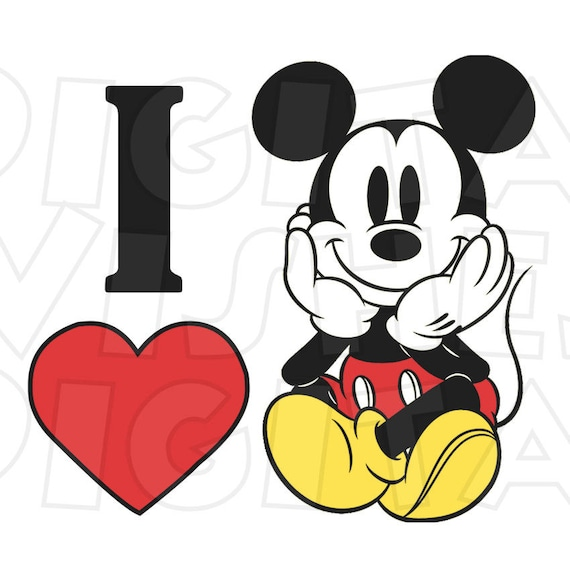 I heart love Mickey Mouse Digital Iron on transfer clip ...