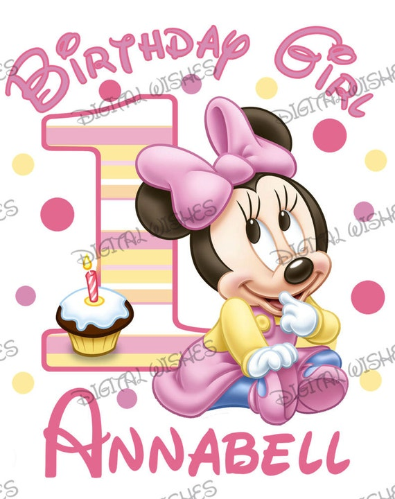 Minnie Mouse 1st Birthday.Baby Minnie Mouse 1st Birthday Image Personalized Name Digital Iron On Transfer Clip Art Diy For Shirt
