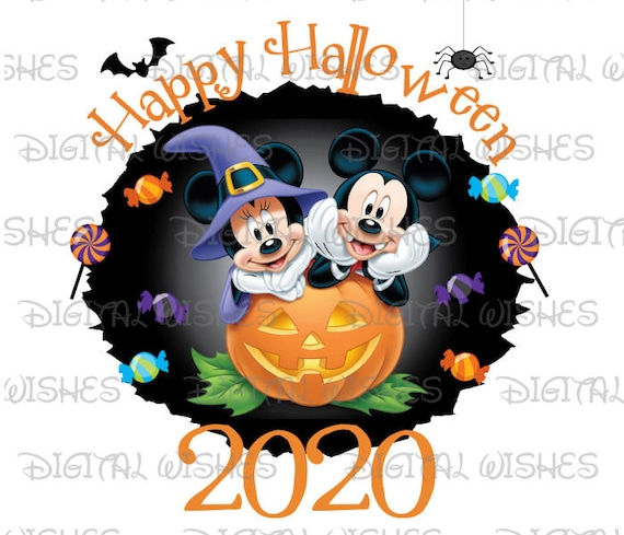 Happy Halloween On Wednesday 2020 Mickey and Minnie Mouse Happy Halloween 2020 Digital Iron on | Etsy